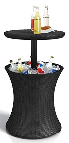 KETER Pacific Cool Bar Outdoor Patio Furniture and Hot Tub Side Table with 7.5 Gallon Beer and Wine Cooler, Dark Grey