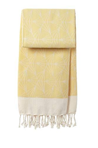 Toalla Hammam, 90 x 170 cm, triángulo japonés | Premium - Oeko-TEX - comercio justo - algodón orgánico - toalla de playa - toalla de sauna - fouta - pareo - yoga - pestemal - XXL (amarillo)