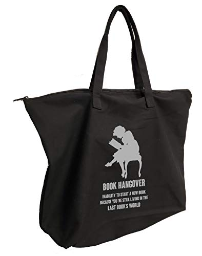 Book Hangover Book Hand Bag Homour Black Canvas Tote Bag with Zipper Funny Gift Bag