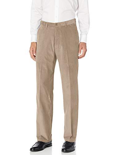 Haggar Men's Corduroy Classic Fit Flat Front Expandable Waistband Pant, Medium Khaki, 34 x 30