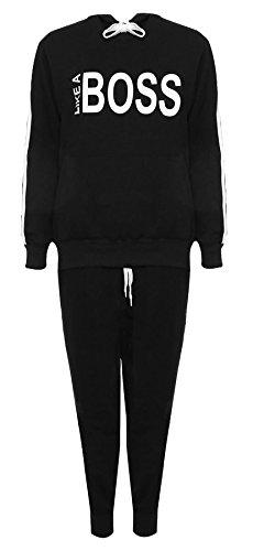 Islander Fashions Frauen wie Boss Print Kapuzen-Sweatshirt Trainingsanzug Damen Loungewear Jogging Anzug schwarz EU 54-56