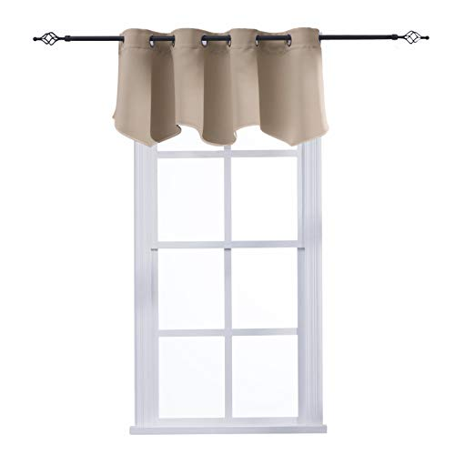 Aquazolax Window Treatments Grommets Top Blackout Scalloped Valance Solid Decorative Scalloped Curtain Valance, 52inch by 18inch, Taupe/Khaki, 1 Piece