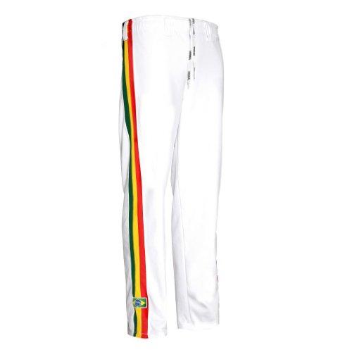 Nuovo Originale Brasiliano Capoeira Arti Marziali Pantaloni - Unisex (bianchi con righe) - Bianco, Bianco, X-Large