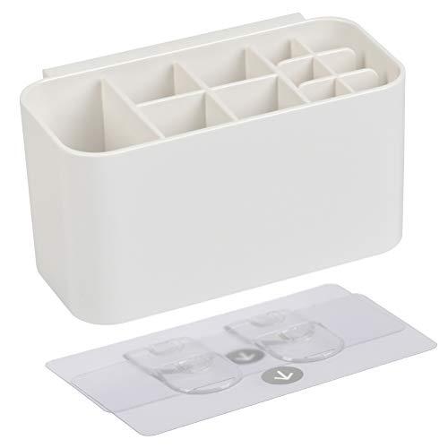 FOCCTS Selbstklebend Zahnbürstenhalter Kunststoff Zahnbürstenständer mit 11 Fächern, Badezimmer Zahnbürstenhalter, Steckplätze für elektrische Zahnbürsten Zahnpasta Zahnbürstenköpfe