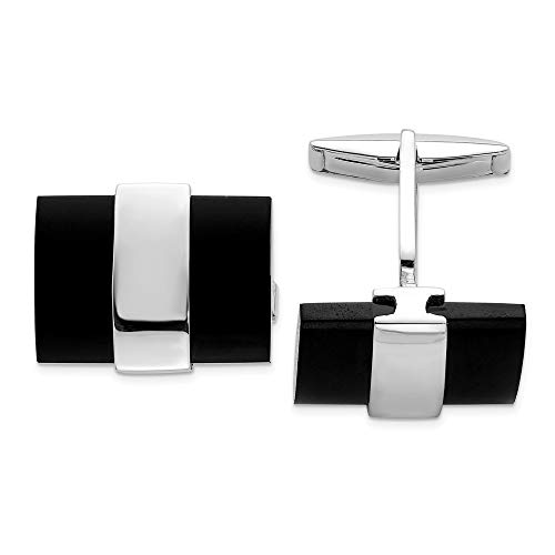 925 Sterling Silver Black Onyx Cuff Links Mens Cufflinks Link Man Fine Jewelry For Dad Mens Gifts For Him