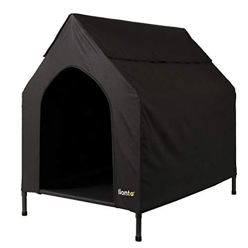 lionto Cama para Perros Cubierta Cama elevada con Techo para Perros Negro (L) 130 x 85 x 113 cm