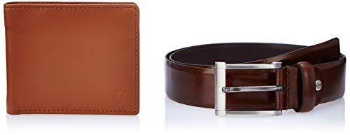 Louis Philippe Men's Belt and Wallet (LPLL51788927_Tan_X-Large)