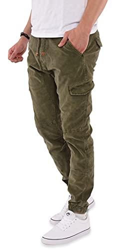 Indicode Herren Cord Hose Cargohose Sydney Baumwolle Cordhose Chino Jogger (Army, XXL)