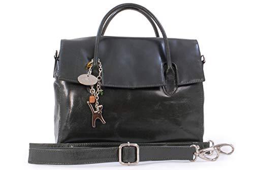 Catwalk Collection Handbags - Vera Pelle - Borsa a Tracolla da Lavoro/Borse a Mano/Spalla/Messenger/Borsa Business/Tracolla Regolabile e Rimovibile - Per iPad/Tablet - Ella - VERDE
