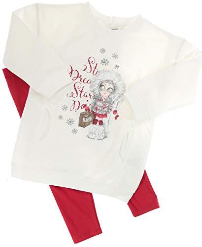 Mayoral Mädchen Kindermode-Set Sweatshirt & Leggings Wintergirl weiß-rot, Gr. 128 (128)