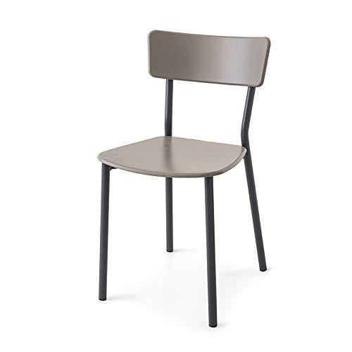 Sedia Modello Jelly Metal in Metallo e in Polipropilene Set 2 Pezzi - Disponibile in 6 Varianti di Colori per Esterno E Interno (Grigio E Tortora)