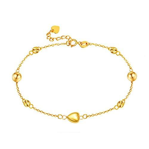 KnBob 18K Yellow Gold Beads Heart Bracelet for Women Chain Bracelet 7.5 Inch