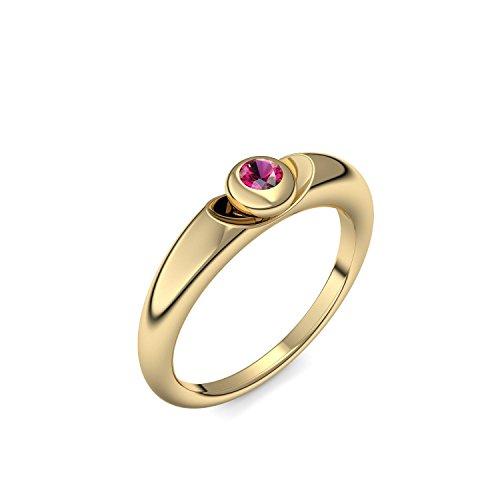 Goldring Rubin 585 + inkl. Luxusetui + Rubin Ring Gold Rubinring Gold (Gelbgold 585) - Escape Amoonic Schmuck Größe 60 (19.1) AM15 GG585RUFA60