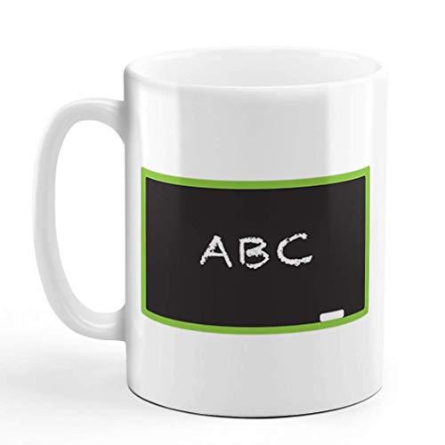 N\A Taza de café, 11 onzas, Pizarra, ABC, Maestro, Escuela, educación, Taza de té de cerámica, Solo diseño