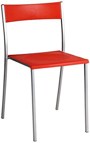 Brenda roja Silla metálica asiento PP p
