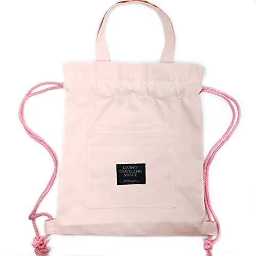 Bolso y Mochila con Cordón de Color Puro Estilo Ins Mochila de cuerda Bolso Bonito-bolsa de lona Bolsa de algodón Bolsa de Tela Bolsa de Compra Bolso con Gran Suelo - 3 Formas de Llevar (rosado)