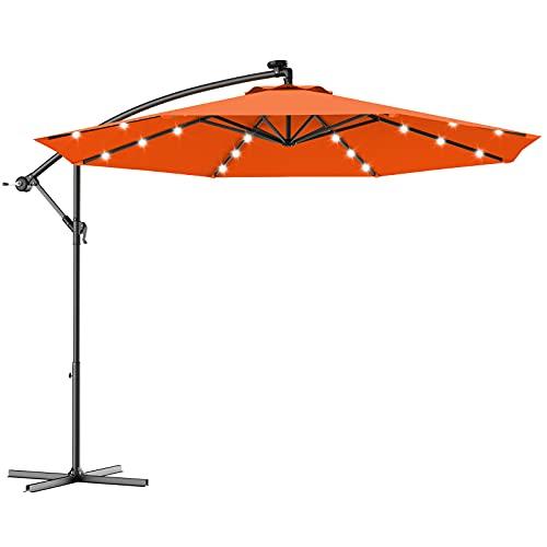 COSTWAY 3M Outdoor LED Parasol Patio Solar Sun Shade Garden Banana Cantilever Hanging Umbrella (Orange)