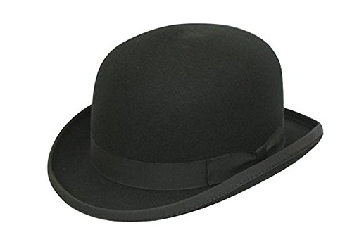 VIZ 100% Wool Plain Black Classic Round Top Hard Bowler Hat - Hand Made -...