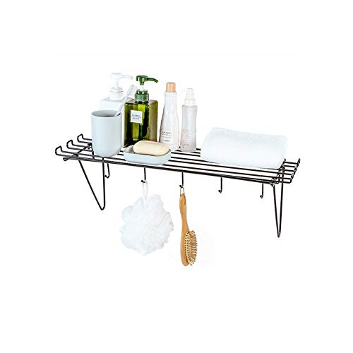 Dniu Estantería de metal para especias de pared, soporte para especias, sin agujeros, almacenamiento de especias con gancho, ideal como estantería de pared en la cocina y el baño (negro)