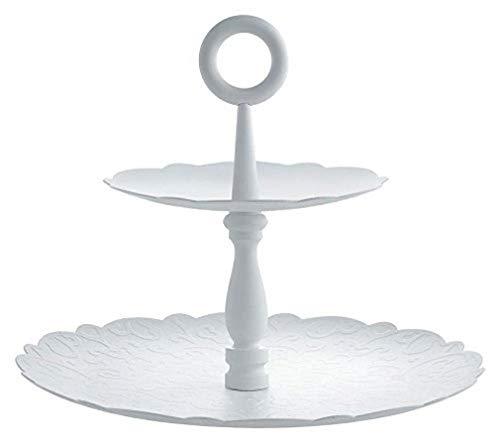Alessi Dressed for X-Mas Etagere mit Zwei Ebenen aus Stahl, epoxidharzlackiert, weiß. Reliefdekor, White, 25 x 25 x 21 cm