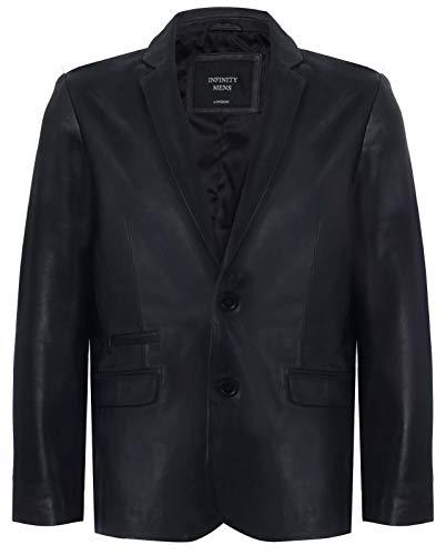 Infinity Leather Schwarzer Echtleder Herren Blazer Aus Weichem Echtem Italienischem Jahrgang Mantel XL