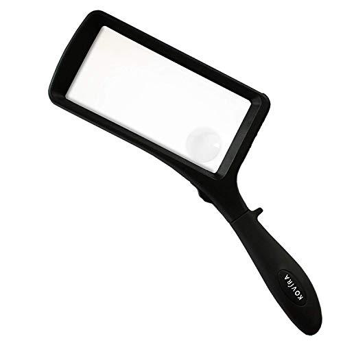 Lupe mit 2X und 6X FachenVergrößerungsgläsern Linsen, Leselupe mit LED Licht - Leuchtlupe für Senioren - Rechteckige Handlupe zum Lesen von Kleingedrucktem, Bücher, Schmuckherstellung, Zeitungen