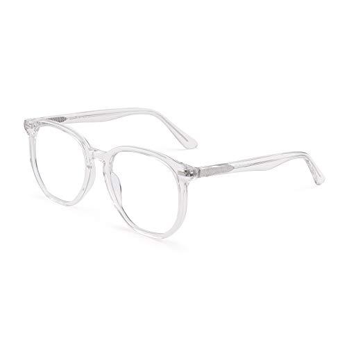 GLINDAR Occhiali da Vista Blu Poligono Esagonali con Protezione Dalla Luce Occhiali da Vista per Computer in Acetato Trasparenti