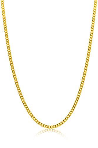Miore - Catenina a maglia barbazzale da uomo/donna in oro giallo 9 carati 375/1000, 2,00 grammi, 45 cm