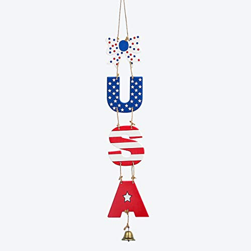 pinkblume Patriotic Wooden Hanging Decor, Vintage U.S.A. Craved Hanging Sign with Bowknot and Bell for 4th of July Decorations, Independence Day, Memorial Day, Veteran's Day, Patriotic Holiday