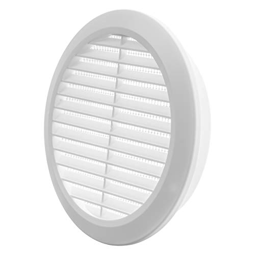 Vent Systems 6'' Inch - White - Soffit Vent Cover - Round Air Vent Louver - Grill Cover - Built-in Insect Screen - HVAC Vents for Bathroom, Home Office, Kitchen