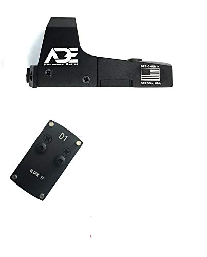 ADE RD3-006x Green Dot + Rear Sight Optic Mounting Plate/Adapter for All Glock (Non-MOS, Non-Aftermarket Slide) Standard Models, Canik TP9SF and Taurus GX4, G3C & G3 with Factory Steel Sights Pistol