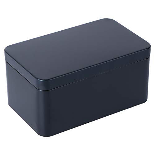 UPKOCH Latas de Bisagra Rectangular con Tapa Caja de Lata Hojalata Caja de Regalo para Joyería Tabaco Caramelo Té (Negro)