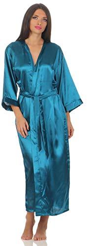 A:E: Damen langes Kimono Nachtmantel Seidenrobe Morgenmantel, S M L XL 2XL Petrol 2XL