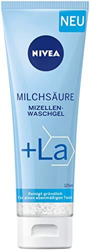 NIVEA Milchsäure Mizellenwaschgel (125 ml), sanfte Gesichtsreinigung mit Milchsäure und MicellAIR Komplex, Waschgel reinigt gründlich und entfernt Verunreinigungen