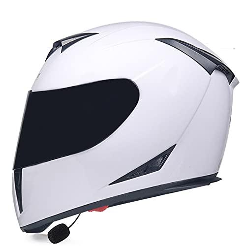 WEDSFC Cascos para Motocicleta con Bluetooth, Modular, Abatible hacia Arriba, Delantero, para Motocicleta,Casco Integral, para Motocicleta Ligero Doble Visera Solar Dot/ECE, Adultos,X,S=55~56cm