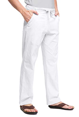 Janmid Men Casual Beach Trousers Linen Summer Pants White 3XL