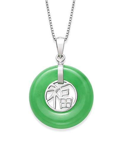 Sterling Silver Natural Jade Good Luck Necklace Charm,18'