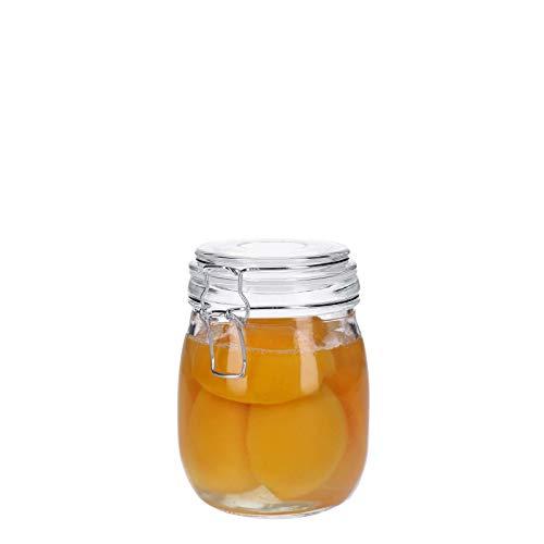 Vorratsdosen aus Glas mit Bügelverschluss, Vorratsgläser, Glasbehälter | Runde bzw. Ovale Form | 500 ml - 3100 ml | luftdicht, auslaufsicher, pflegleicht (830 ml)