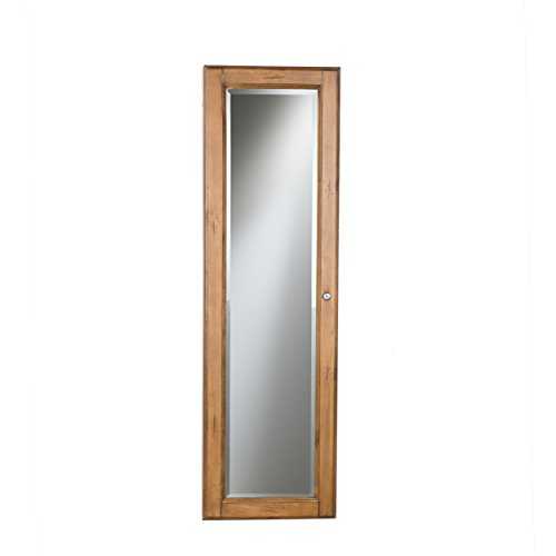 SEI Furniture Wall Mount Jewelry Mirror, Oak