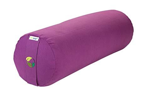 Ecoyogi Yoga Bolster - Yoga Rolle mit buchweizenfüllung - GOTS Zertifiziert - ø 20 cm (Lavender)