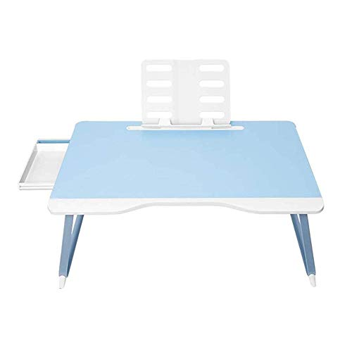 WNN-T Folding Laptop Desk, Laptop Bed Tray Table with Drawer And Card Slot Design Can Be Used Hospital Table T (Color : Blue)