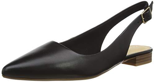 Clarks Laina15 Sling, Mocasines Mujer, Negro (Black Leather Black Leather), 37.5 EU