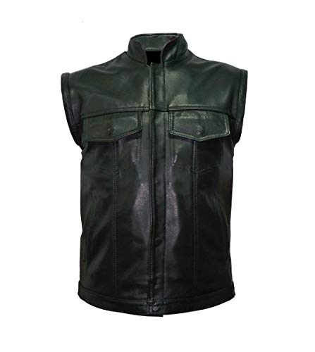 IGUANA CUSTOM CLOTHES Clásico chaleco de cuero negro con estilo SOA (S)