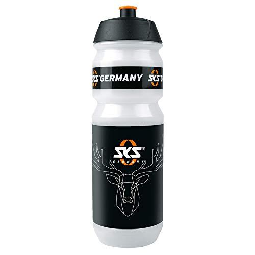 """SKS GERMANY Fahrradflasche Shiva \""""Hirsch Design\"""", Zubehör (Trinkflasche mit Shiva-Verschluss, viel Volumen, auslaufsicheres Push-Pull-Ventil, Wasserflasche in Hirsch-Design), Transparent"""