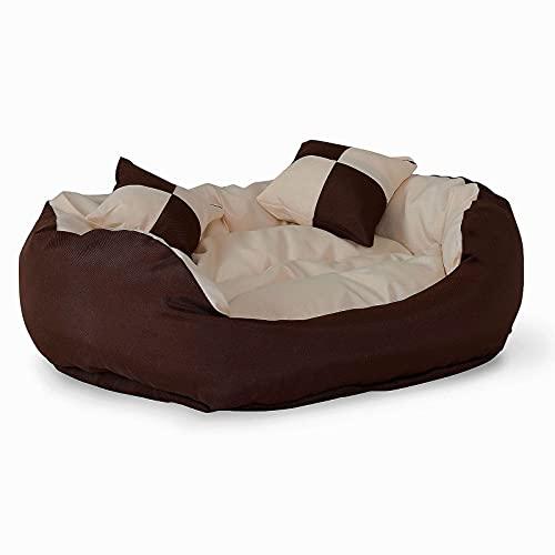 dibea Letto per cani cuscino per cani tessuto Oxford 4-in-1 design (S) 65x50 cm marrone/beige