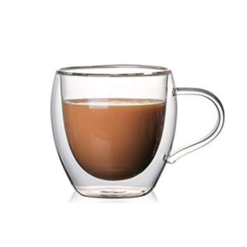 Gelentea Doppelwandige Isoliergläser Espressobecher Hochtemperaturbeständig dick transparent mit Griff Kaffee Tee Milch Saft Glas Tassen, Ohne Deckel, 260ml
