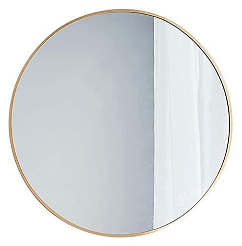 AMDHZ Espejo de baño Redondo Espejo de Afeitado Enmarcado Dorado Espejo de Maquillaje de Pared para Sala de vestíbulo Espejo de Sala de Estar Espejo para maquillarse (Size : 50CM)