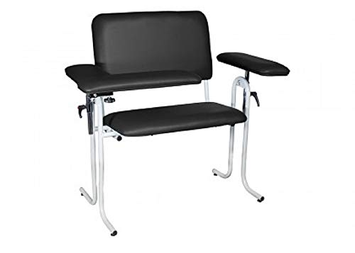 Wide Lab Blood Drawing Chair with Padded Seat 40' H, 43' W, 28' D. Adjustable Height with Flip Arm. Weight Capacity 700 lb. Blood Draw Chairs are Ideal for Clinics, Labs, Hospitals.