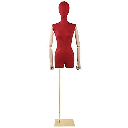 FSFF Maniquí Femenino, Busto de exhibición simulado de Sastre Ajustable en Altura con Base Cuadrada Estable Adecuado para exhibición de Ropa (Color: Rojo)