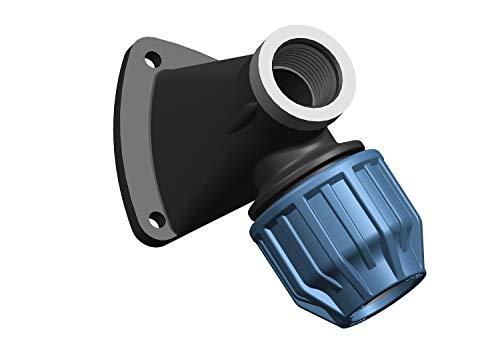 PN10 Elysee PP-Fittings 32mm Klemmkupplungen, Winkel, T-Stück, PE-Rohr, Reuduzierungen, Kupplung, Endstopfen, Trinkwasserzertifiziert, Größe: Wandscheibe 25 x 3/4